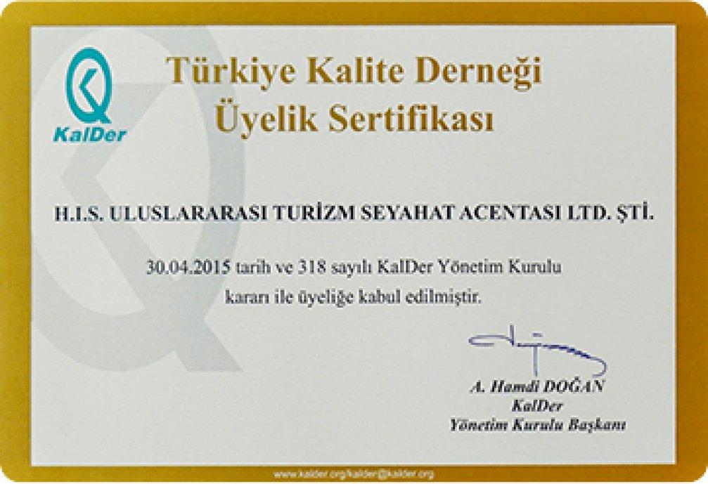 Türkiye Kalite Derneği Üyelik Sertifikası